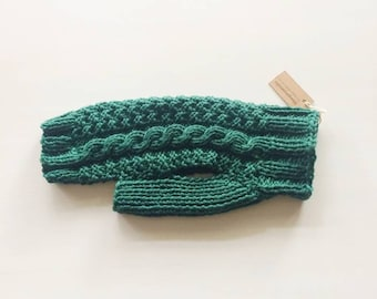 Wool dog sweater, size S, emerald green luxury cable knit pullover for small dog.