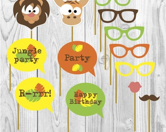 Jungle happy birthday party props, tropical party, party paper decoration, Birthday Party Package, printables, printing party decor, animals