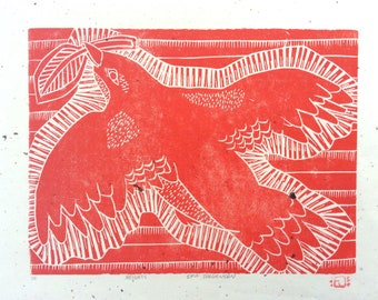 linocut - HEIGHTS // 8x10 art print // printmaking // block print // red bird // nature art // original art // bird print // animal prints
