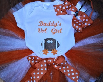 Tennessee, Tennessee Volunteers, baby shower gift, baby girl gift, baby girl clothes, baby tutu, orange, bodysuit, baby tutu, football