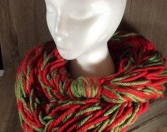 Super Bulky Arm Knit Infinity Scarf ~ Christmas (Cincinnati Red & Oklahoma City Green)
