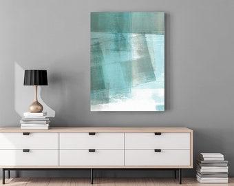 Geometric Art - Minimalist Art - Abstract Art - Turquoise Aqua Coastal Home Decor - Large Abstract Canvas Print - Wall Art Print