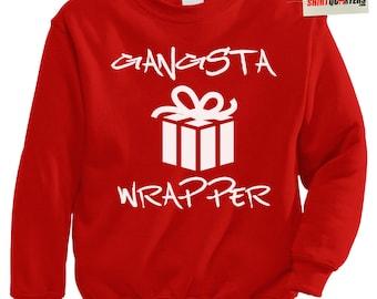 Gangsta Wrapper gangster rapper hip hop Christmas in Hollis Run DMC old school skool NWA Eazy E Snoop Dogg ugly tacky sweater sweatshirt