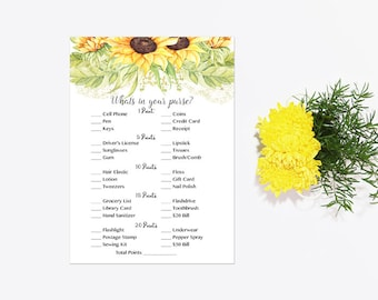 What's in Your Purse Shower Game, Whats in Your Purse Game, Sunflowers Bridal Shower Baby Shower Instant Download Printable 212