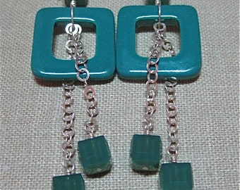 SALE Not Just for Squares Deep Green Earrings with Chain - E280