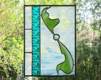 Turquoise Stained Glass Panel Blue Green Abstract Stained Glass Sun Catcher Handmade