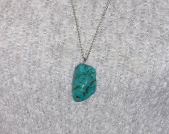 """Turquoise nugget on a 29"""" sterling chain"""