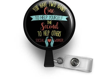 Social Worker Retractable ID Badge Reel