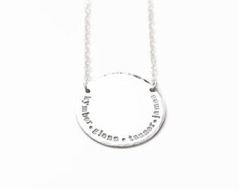 Four Name Necklace, Hand Stamped Sterling Silver Disc Name Necklace, Personalized Mothers Necklace