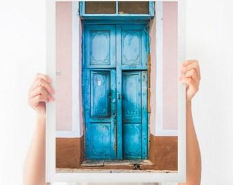 Blue Door in Havana Photograph, Cuba Art, Architecture Art, Large Wall Decor, Pink and Blue Wall Art, Door Photography, Cuba Print