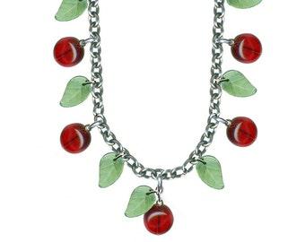1950s Style Bakelite Cherry Necklace, Retrolite Cherry Necklace, Glass Beaded Cherry Necklace, Adjustable Handmade Necklace, Cherry, Retro