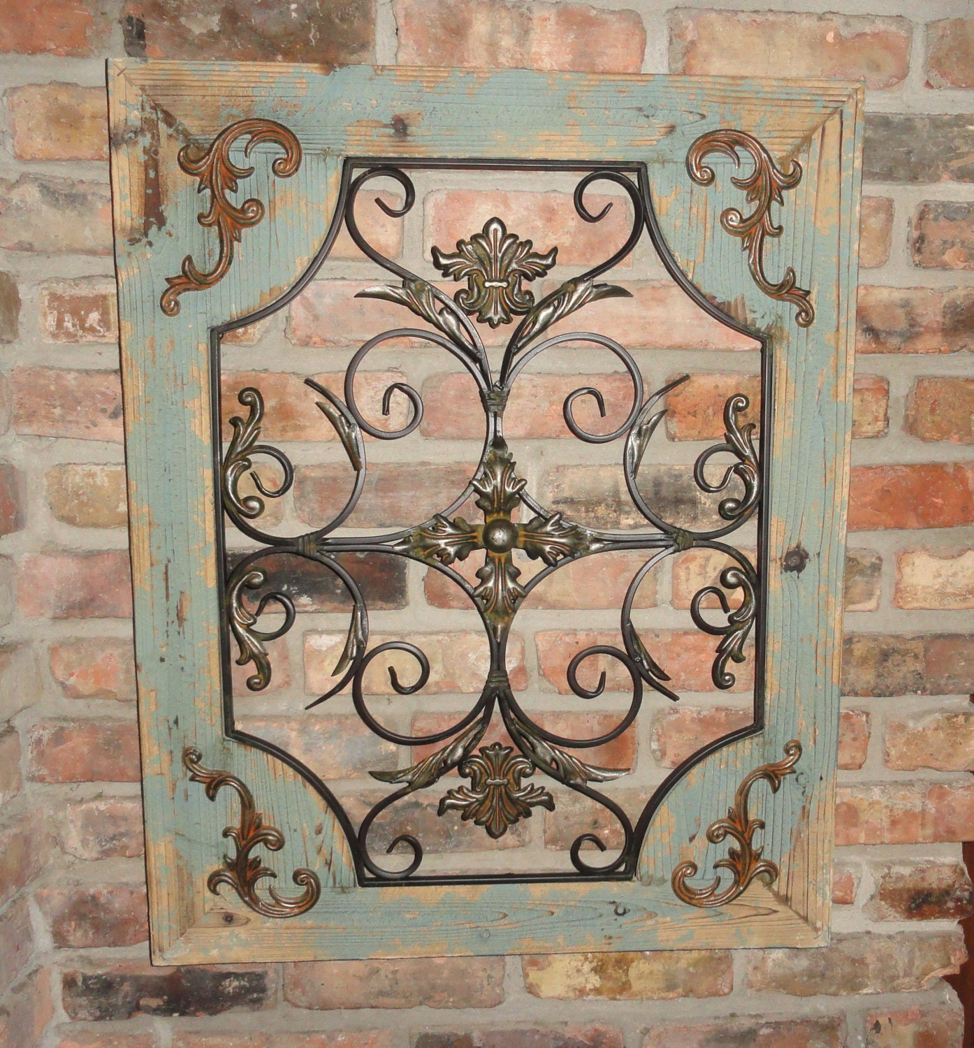 Rustic turquoise wood metal wall decor cottage chic shabby zoom amipublicfo Image collections