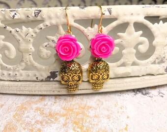 Sugar skull earrings, skull earrings, day if the dead earrings, sugar skull rose earrings
