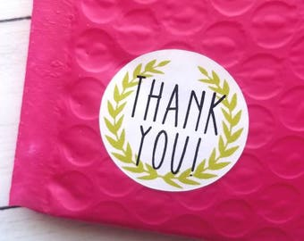 Small business stickers - Wreath thank you - Thank you for supporting small business - package stickers - Small biz - elegant