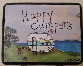 Happy Campers Painting Plaque Sign