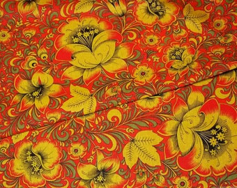 Russian Cotton, Folk print Khokhloma on Red, 150cm/59in wide