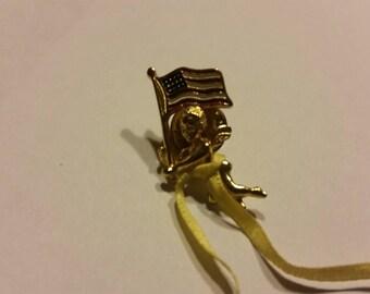 Vintage Angel Flag Lapel Pin Gold Crown Costume