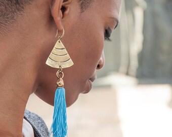 Fringe earring- Tassel Earrings -Tassel Jewelry -Fringe Statement Earrings -boho earrings - Black Earrings - handmade Earrings - Dangle