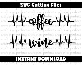 Coffee Svg, Wine Svg, Coffee Heartbeat Line Svg, Wine Heartbeat Line Svg, Coffee Mug Svg, Wine Glass Svg, Coffee Design Svg, Wine Lover Svg