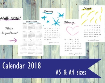 Hand drawn Monthly Calendar 2018. PDF file calendar. 2018 monthly calendar. A4 size, A5 size printable calendar.