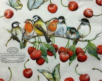 "3 Decoupage Napkins, Cherry Birds, 13"" x 13"""