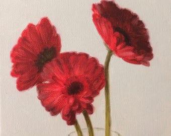 Original Oil Painting Red Daisies