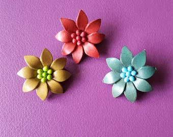 Flower Brooches x 3 Made From Leather