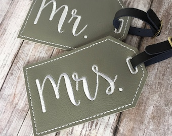 Mr and Mrs luggage tag set, his and hers 2 vinyl luggage tags, wedding honeymoon gift, mr and mrs personal gift grey embroidered tag