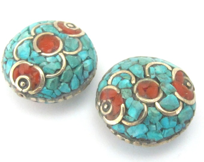 1 BEAD - Large Oval Disc shape Brass bead with turquoise coral inlay - BD007A