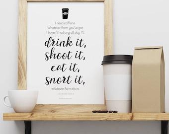Gilmore Girls // I Need Caffeine // Printable Art 8.5 x 11