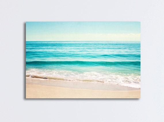 Ocean Canvas Gallery Wrap Large Beach Landscape Wall Art Aqua