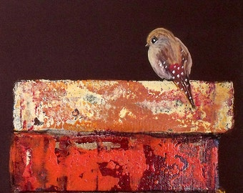 Spotted Bird Print 8 x 10  Hand Signed Bird Art Print of Original Painting