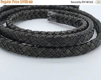 """On Sale NOW 25%OFF Braided 10x6mm Licorice Leather Cord - Distressed Dark Brown -  8"""" Piece"""