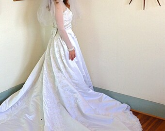 Modest Wedding Dress, Satin Wedding gown, Sheer Long sleeve, Beading and Lace, Pearl collar, Long Full Skirt,chapel train,Princess cut, 8 10