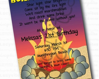 Beach Bonfire Invite Etsy
