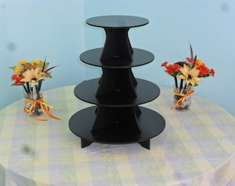 """Large 4 Tier Cake / Cupcake Stand 5"""" PVC 9, 11, 13, 15 5"""" BETWEEN TIERS"""