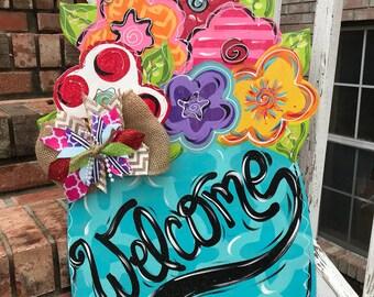Mason Jar Flower Spring Summer Door Hanger