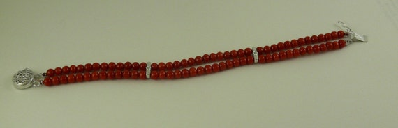Italian 4.5 mm- 5 mm Coral Double Strand Bracelet ,14K White Gold & Dia 0.006ct