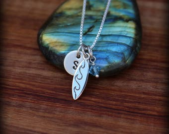 Surfer girl necklace, surfing jewelry