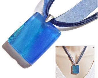 Artisan Hand-Layered Glass Pendant with Dichroic Accents in Caribbean Getaway Series - One of a Kind