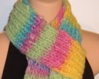 SALE Hand Made Knit Wool Scarf Pastel Neon chunky pink green yellow blue