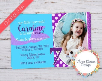 Mermaid Printable Birthday Invitation