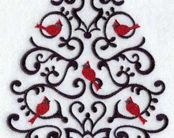 Christmas Tree Towel - Cardinal Towel - Christmas Towel - Embroidered Towel - Flour Sack Towel - Hand Towel-Bath Towel-Fingertip Towel-Apron