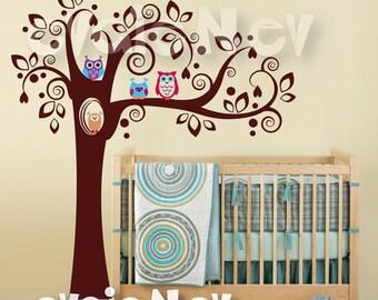 Children Wall Decal Wall Sticker -Cute Owls on Tree Decal - TRANMLOWL010