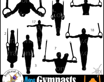 Male Gymnasts Silhouettes set 5 INSTANT DOWNLOAD 8 png graphics Gymnastics clipart graphics tumbling cheer Olympic competition gymnast