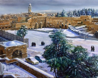 Oil on Canvas Original Art Painting Unique Artwork Signed by Alex Levin Winter in Jerusalem