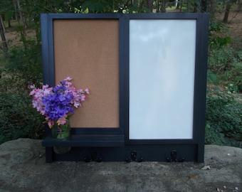 Corkboard--Kitchen Message Board--Dry Eraseboard--Message Center--3 Double Hooks
