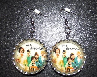 One Direction Bottle Cap Earrings
