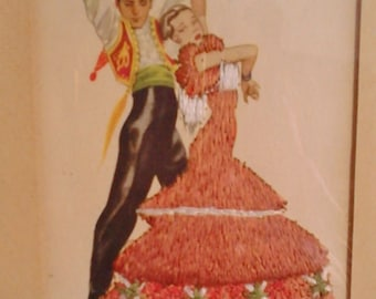 Picture postcard embroidered from vintage collection flamenco dancers Spain framed
