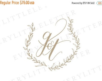 ON SALE Custom Hand Lettered Crest, Monogram Wedding Crest, Calligraphy Monogram